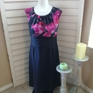 Dress Barn black w/pink floral design Sz 6